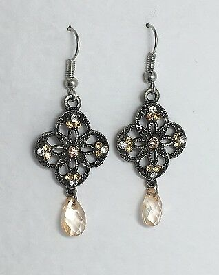 LOVELY sparkly DARK SILVER PLATED DROP EARRINGS WITH YELLOW PEACH GLASS STONES