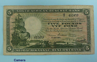 SOUTH AFRICA Five Pounds 1931  *W.H. Clegg*  (BR204)