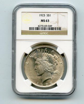 1923 Silver Peace Dollar (MS63) NGC