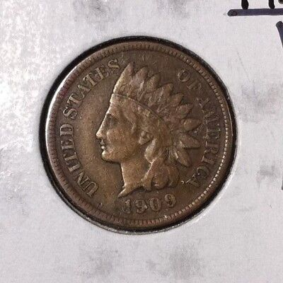 """1909-S Indian Head Cent ~ Fine/vf """"key Date"""" Nice Coin!"""