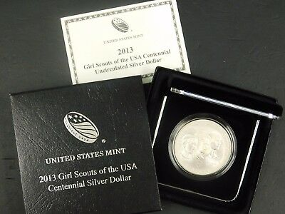 2013 Girl Scouts of the USA Centennial UNC Silver Dollar! With Box/Coa!