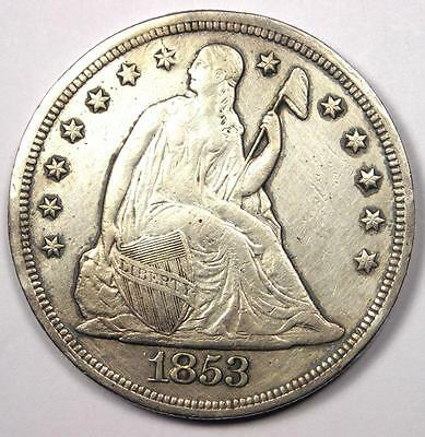 1853 Seated Liberty Silver Dollar $1 - XF/AU Details - Rare Early Type Coin!
