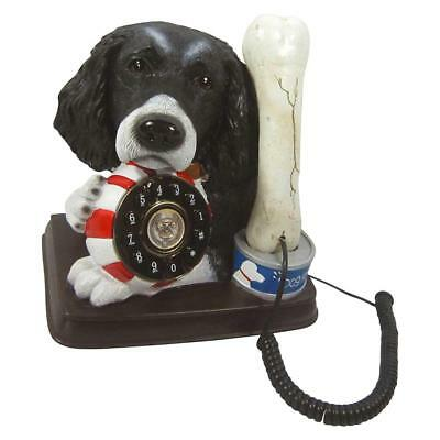 Black Spaniel Dog and Bone Novelty Telephone by Steepletone