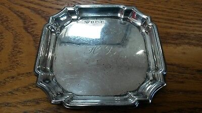 Antique Vintage Small Solid Silver Tray Inscribed H.r. Fully Hallmarked 45G
