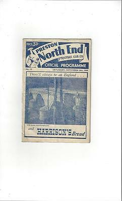 Preston v Barnsley 1949/50 Football Programme