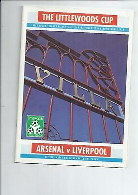Arsenal v Liverpool Littlewoods Cup Replay Programme @ Aston Villa 1988/89