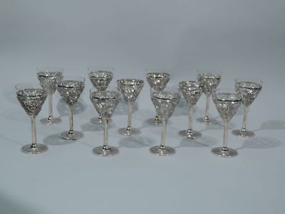 Exotic Cups - Antique Asian Martini Cocktail Barware Stemware - Chinese Silver