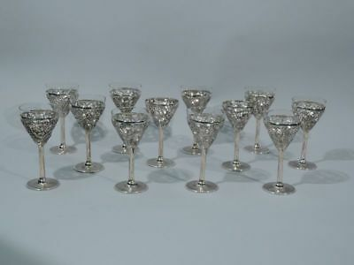 Export Cups - Antique Asian Martini Cocktail Barware Stemware - Chinese Silver