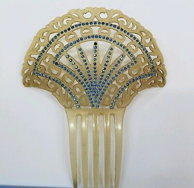 LG. OLD Antique Vintage CELLULOID Mantilla HAIR Wig COMB Tortoise BLUE Jewel FAN