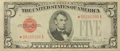 1928 F $5 Dollar Bill US Legal Tender Note Red Seal Star Note