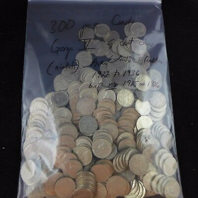 Lot of 300 CANADIAN NICKELS 1922-1936 King George V 5 Cent Coins (No 25 or 26)