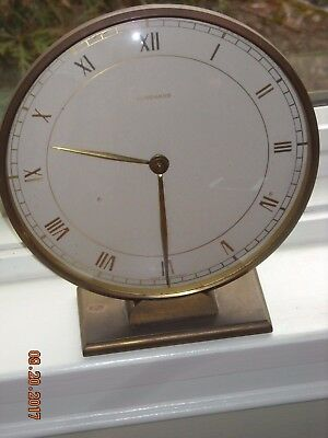 Vintage Art Deco JUNGHANS Brass Desk Clock Made in Germany for Parts or Repair