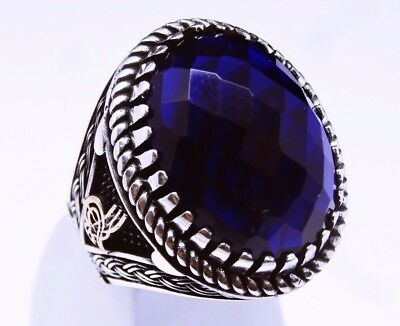 925 sterling silver handmade turkish sapphire mens ring us sz 9 free resize