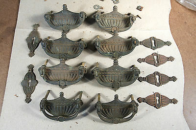 Set of 8 Urn-style Brass Drawer Pulls with Escutcheons