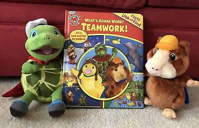 """Wonder Pets Linny Hamster Plush 9"""" Tuck Turtle Plush 13"""" & First Look Find Book"""
