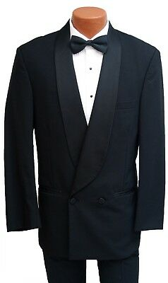 Beautiful Black Satin Shawl Lapel Double Breasted Tuxedo Dinner Jacket 100% Wool