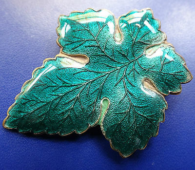 "antique art nouveau 1.75"" green enamel vine leaf brooch c pin -C860"