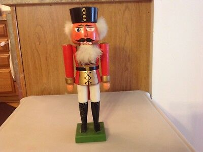 """Nutcracker 14"""" Red Soldier Made In East Germany Vintage"""