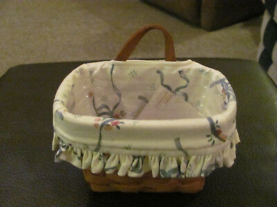 Longaberger 1993 Small Basket w/Leather Strap Protector & Liner