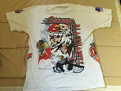 1992-93 Ed Belfour Chicago Blackhawks NHL Hockey T-Shirt - Size XL