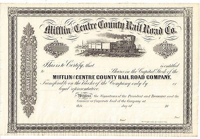 Mifflin And Centre County Rail Road Co....1800's Unissued Stock Certificate