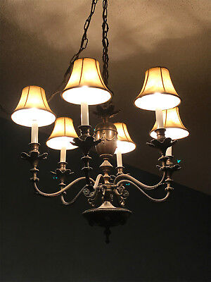 """Solid Brass Patina 26"""" x 28"""" Classic Traditional Chandelier with Hanging Chain"""