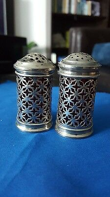 Antique Sterling Silver Salt and Pepper Shakers Set w/ original cranberry glass