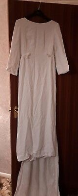 vintage wedding dress in ivory with train 3/4 length