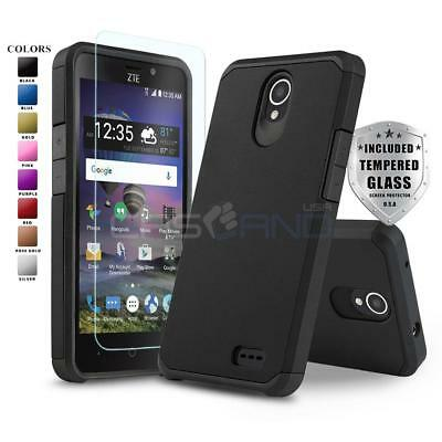 DuoTEK ARMOR SHOCKPROOF COVER PHONE CASE FOR [ZTE ZFIVE 2 LTE] +TEMPERED GLASS