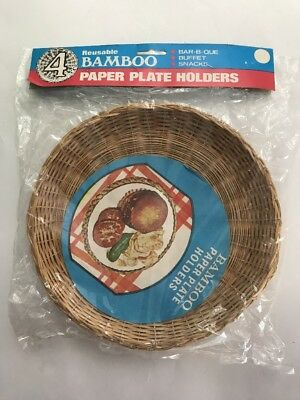"Lot Of 4 Wicker Rattan Bamboo 9"" Paper Plate Holders Picnic BBQ Party Camping"