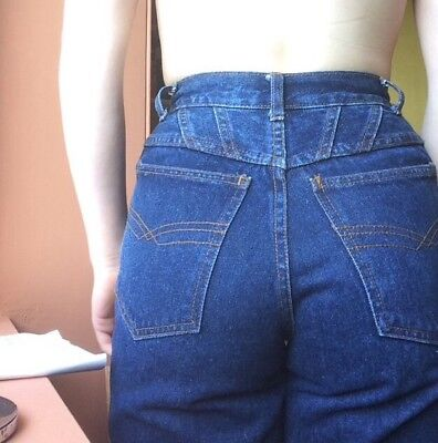 Cool / Unique Triangle Seam Vintage High Waisted Blue Mom Jeans Xxs W23 Japanese