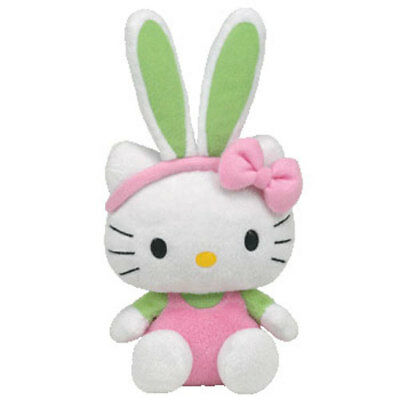 TY Beanie Baby - HELLO KITTY (Bunny Pink Overalls w/Green Ears) (9 inch) - MWMTs