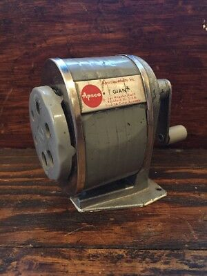 Vtg Apsco Giant 6 Hole Type III-A 3A Desk Wall Mount Pencil Sharpener Berol