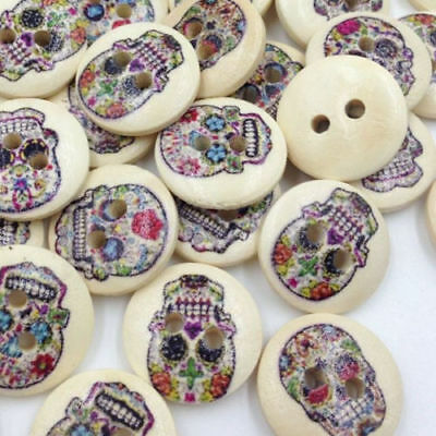 10 pcs Wooden Vintage Style Sugar Skull Buttons. Various Designs.