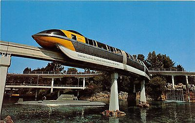 Disneyland Postcard Yellow Monorail, submarine