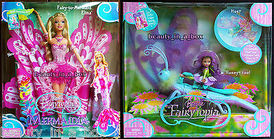 Elina Mermaidia Fairytopia Barbie Doll Fairy-to-Mermaid Hue the Butterfly Lot 2