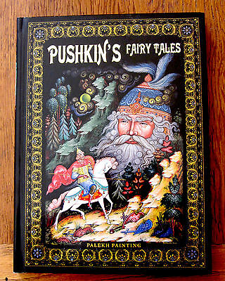 Russian BOOK Pushkin's Fairy Tales UNIQUE GIFT in ENGLISH PALEKH PAINTINGS
