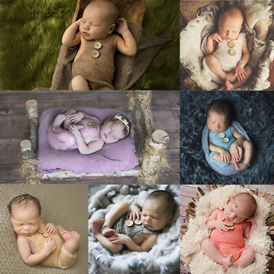 US Newborn Baby Infant Knit Crochet Botton Romper Photo Photography Props Outfit