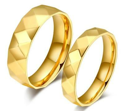 Fashion Gold Plated Pure stainless Steel Couple Rings wedding band Promise Gift