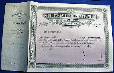 """Specimen stock certificate """"South West Africa Company limited"""" 19xx **"""