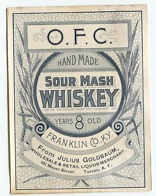 Pre Prohibition Julius Goldbaum Tucson AZ Sour Mash Whiskey Label Franklin  KY