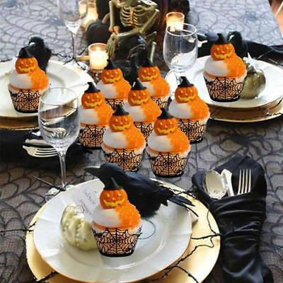 Halloween Cupcake Wrappers 12Pcs Laser Cut Cake Paper Cups Decoration Black