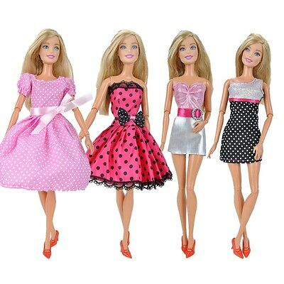 4 Pcs Fashion Dolls Clothes Mini Dress Casual Wear Lady Skirt for Barbie Doll A