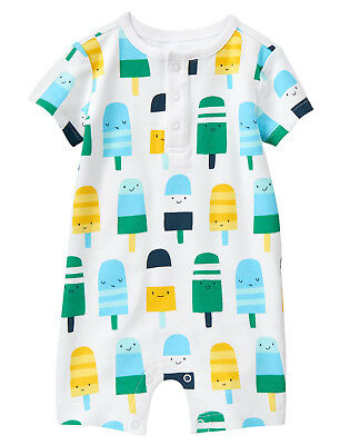 NWT Gymboree Popsicle Print Romper 1PC Newborn Essentials Baby Boy
