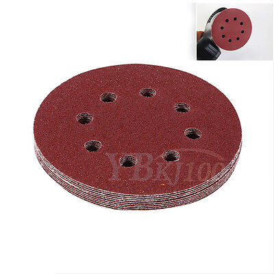 10X 5 inch 125mm Round Shaped Sanding Disc Pads 8 Hole Sandpaper 60-1000 Grit GD