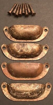 Lot of 4 VICTORIAN Copper brass ANTIQUE CABINET DRAWER BIN cup PULLS HANDLES