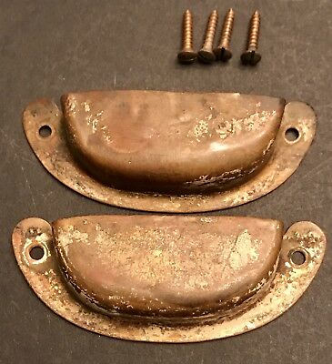 Lot of 2 VICTORIAN Copper brass ANTIQUE CABINET DRAWER BIN cup PULLS HANDLES