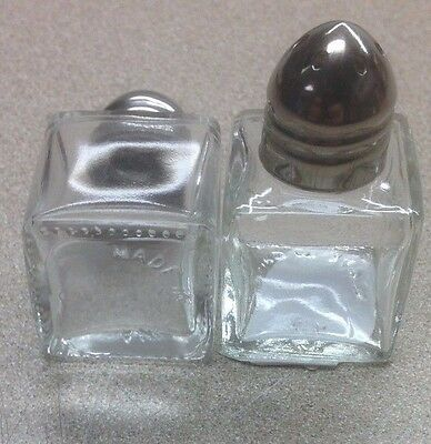 2 Doz 1/2 Oz MINIATURE MINI Square Salt & Pepper Shaker Set Glass Stainless Lid