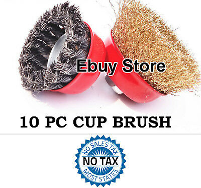 10 PC LOT 75mm Twist Knot Wire 5 Cup Brush & 75mm Crimped 5 Cup Brush Wire Wheel