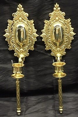 "Vintage 18.5"" Antique Brass Pair Candle Sconces French Style Hollywood Regency"
